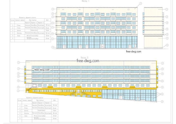 Реконструкция фасада жилого дома - файл чертежа в формате DWG.