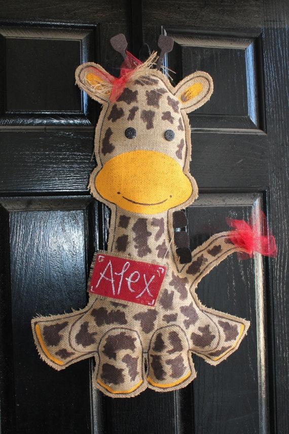 Giraffe burlap Baby door hanger decoration  by Cutipiethis on Etsy, $45.00