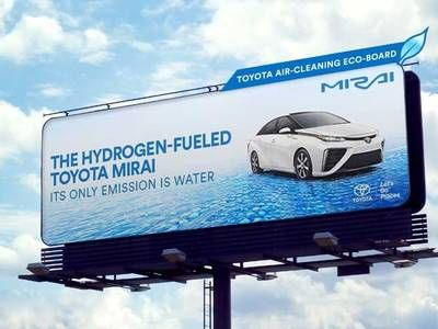 Toyota will advertise its hydrogen fuel cell sedan with smog-reducing billboards