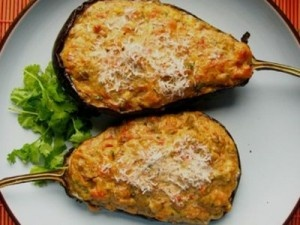 "Stuffed aubergines ""papoutsakia"" (shoes)..."