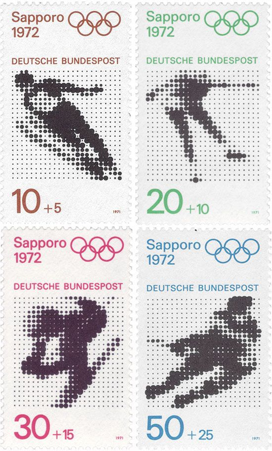 series for olympic games 1972, sapporo and munich  graphics by kohei sugiura