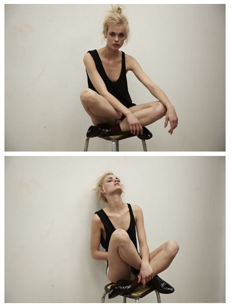 stool chair model blonde black vest shorts white wall lace ups fashion portrait girl female photography