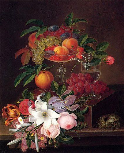 george forster still life with fruit flowers and bird s nest