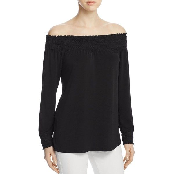 Calvin Klein Smocked Off-the-Shoulder Top ($74) ❤ liked on Polyvore featuring tops, blouses, black, off the shoulder blouse, calvin klein blouses, calvin klein, smock top and off the shoulder tops