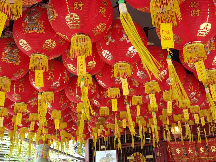 Temple decoration fluttering lanterns