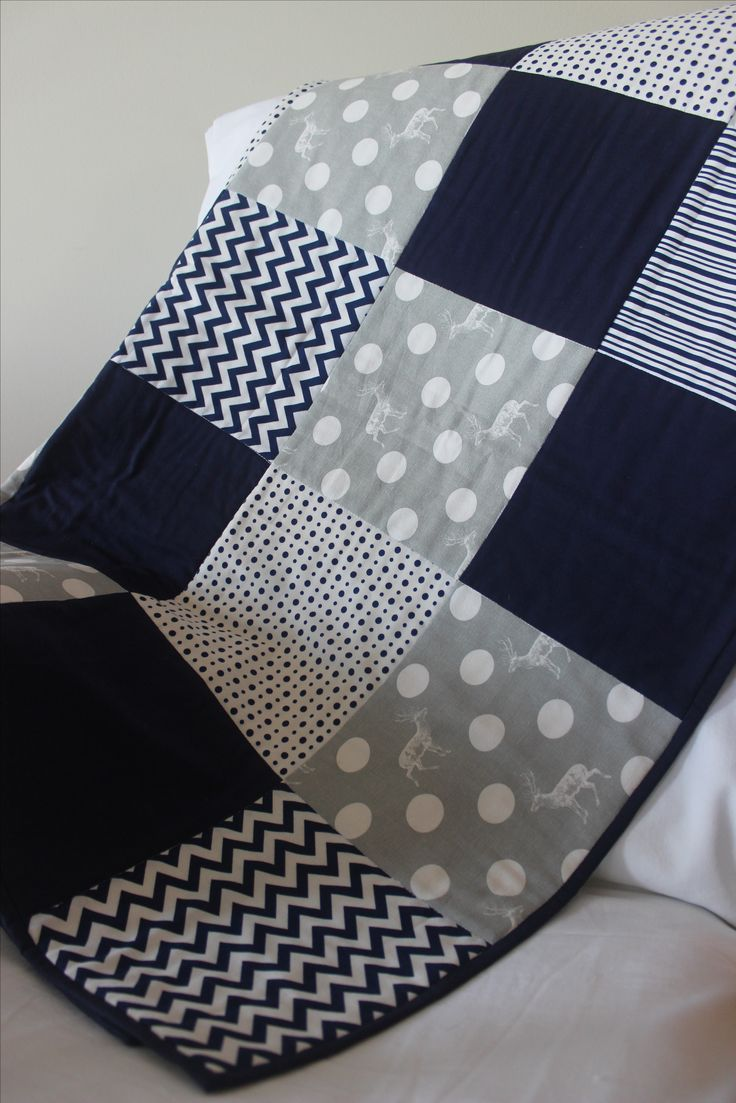 modern baby boy quilt in navy and grey