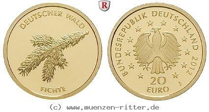 RITTER BRD, 20 Euro 2012 J, Der Deutsche Wald, Fichte, 1/8 Unze Gold, st #coins