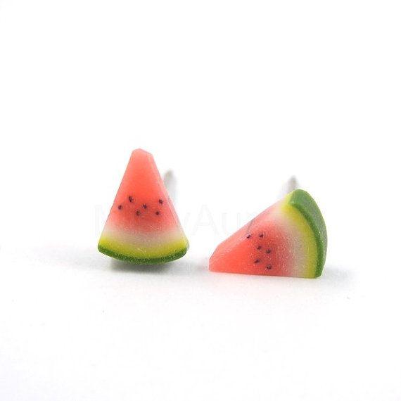 Watermelon Earrings Wedges Slice Studs Red Green by MistyAurora, $14.00
