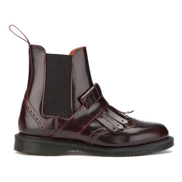 Dr. Martens Women's Tina Arcadia Brogue Chelsea Boots - Cherry Red (€150) ❤ liked on Polyvore featuring shoes, boots, burgundy, flat ankle boots, leather fringe boots, fringe ankle boots, burgundy boots and flat boots