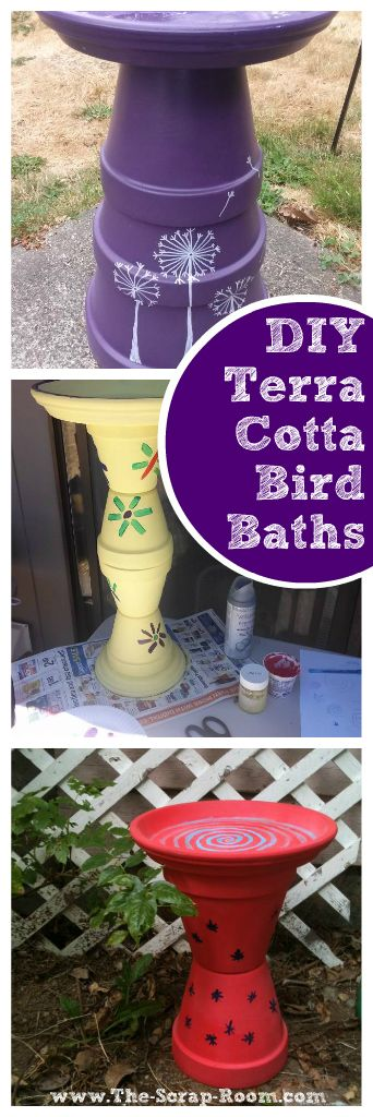 Terracotta Pot Bird Baths   This budget friendly project is for the birds -- no literally! Made from terracotta pots and assembled in less than an afternoon, this easy project is fun for crafters of all ages!