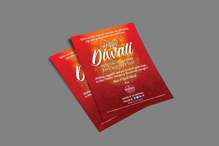 DIWALI 2017 – Flyer design for Diwali 2017, The Festival of Light celebrated in the month of October. #graphicdesign #Diwali #FestivalOfLight #flyers #advertising #print