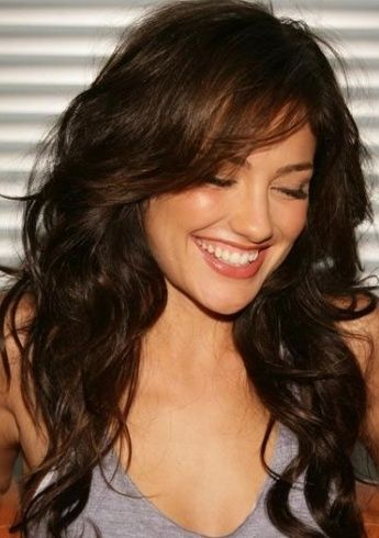 Love her hair!  Minka Kelly   Haircut   Longer side swept bangs   Long layers
