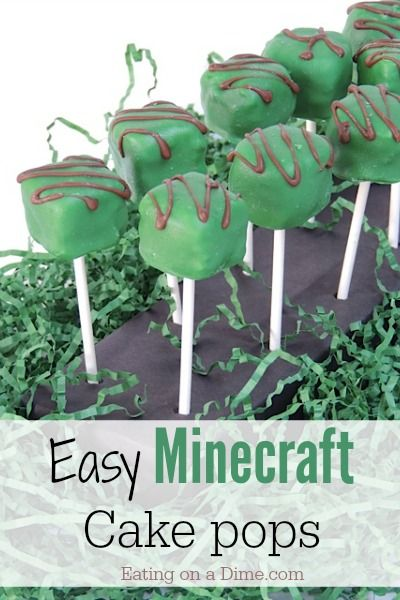 Minecraft Cake Pops. These are so easy to make and perfect for your next Minecraft birthday! - Eating on a Dime  http://eatingonadime.com/minecraft-cake-pops/