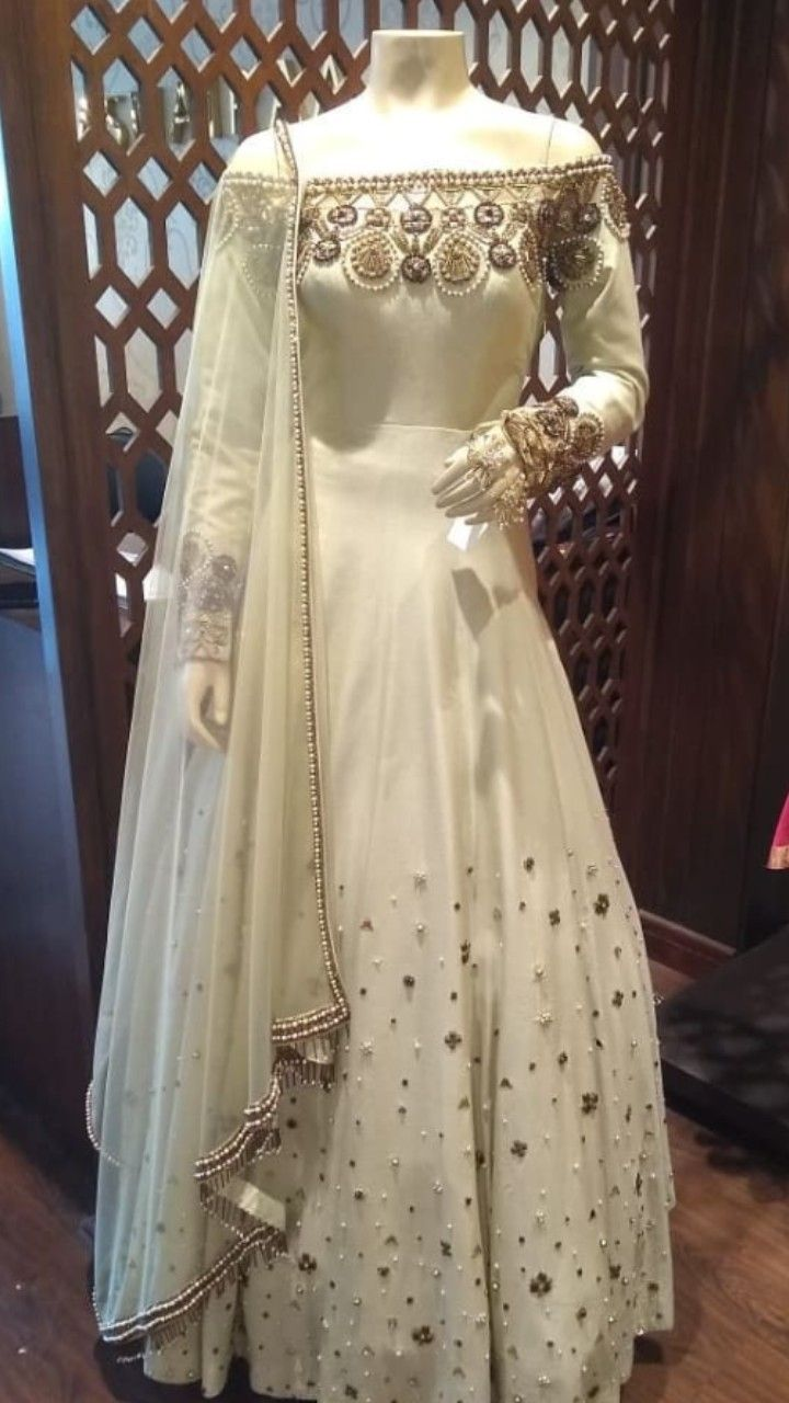 4cddaaf859e19 Beautiful Crepe-Silk Long Anarkali Gown. Embellished with hand embroidery  work with zardose work