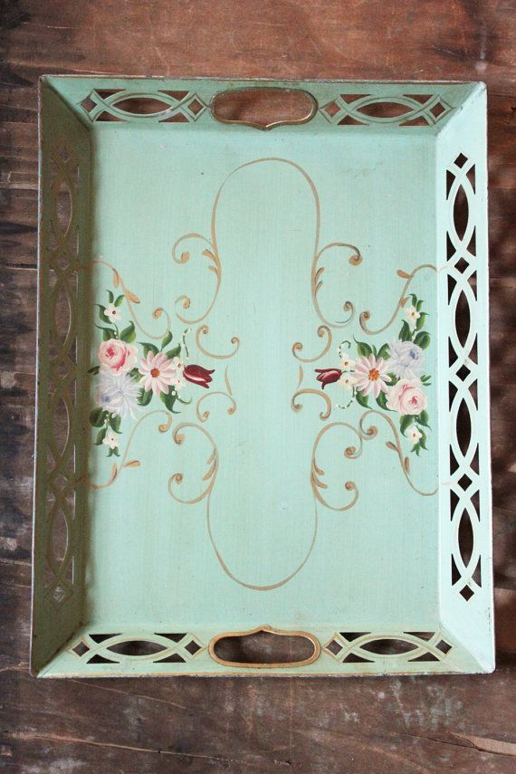 seafoam green tea/ serving tray