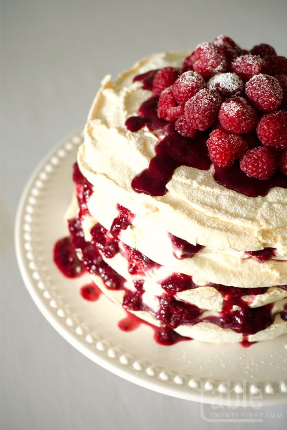 pavlova cake with lemon mascarpone & raspberry coulis | table twenty eight | Nigella Lawson recipe