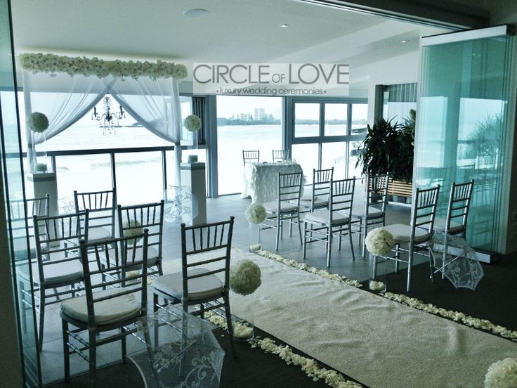A beautiful beach wedding on The Deck at The Surf Club Mooloolaba. Styled by @Circle of Love Weddings