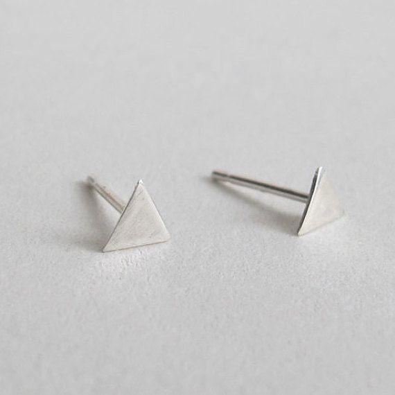 Small Triangle Earrings Delicate Earrings by WildFawnJewellery