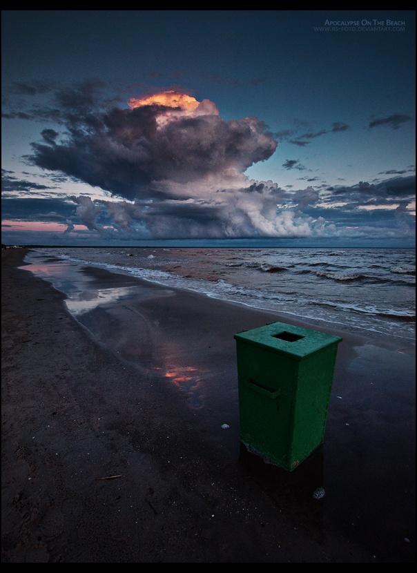 Storm Clouds Surround Sunset on the Beach of Pärnu
