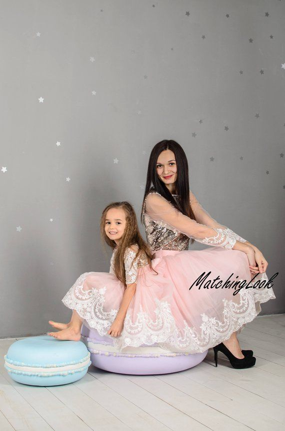 f5e78826 Matching Dresses for Mother and Daughter in gold and pink colors. Mommy and Me  Outfit - Pink Gold Tutu Lace Dresses with gold sequin upper and white off  ...