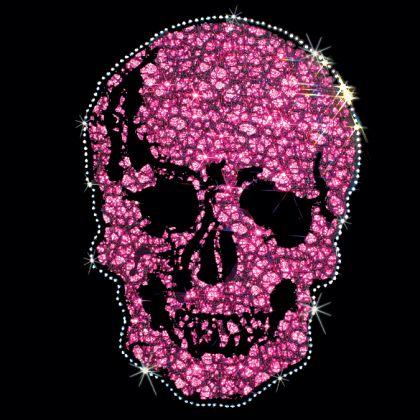 8X11  - PINK/BLACK LARGE SKULL (FABRIC / STUD) - black, fabric, Pink, Rhinestud, skull, stud, Material Transfer, Skulls