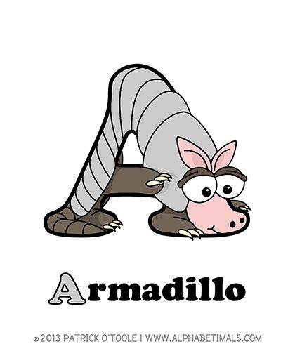 Armadillo - Alphabetimals make learning the ABC's easier and more fun! http://www.alphabetimals.com