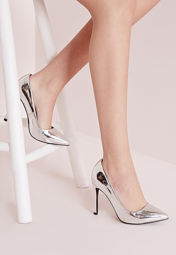 """Channel your inner party girl with these super shiny silver court shoes. With a pointed toe and seriously stacked heel, this heels are a dream.  Approx height 10cm/4"""""""