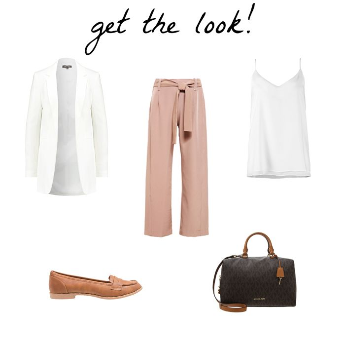 BLOG DE MODA Y LIFESTYLE. White cami+camel bow wide leg pants+camel loafers+white long blazer+brown and black handbag. Fall Transitional Outfit 2016