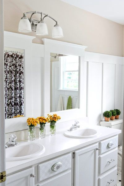 A bathroom makeover for just 265 for Water resistant wainscoting for bathroom