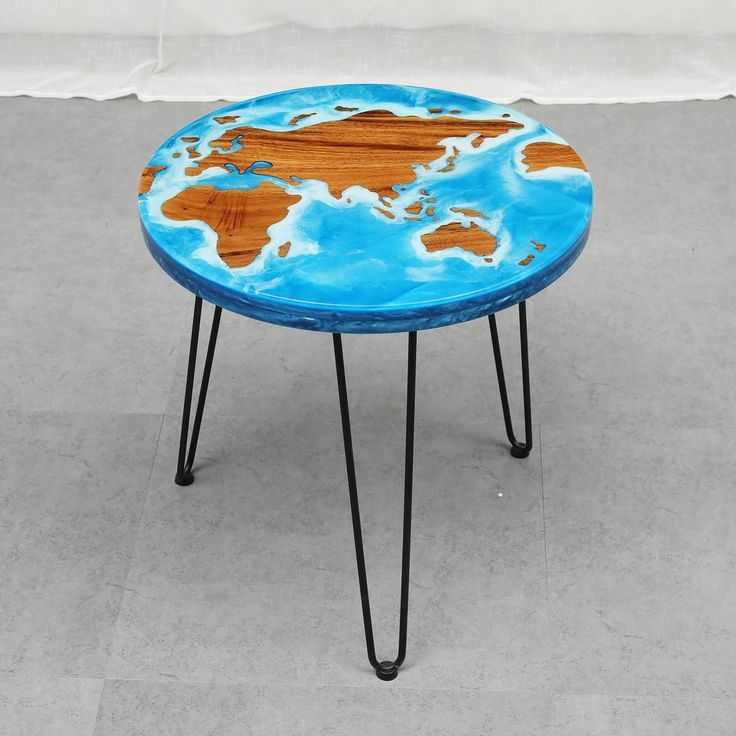 MKRT-190789 Blue resin light walnut world map coffee table