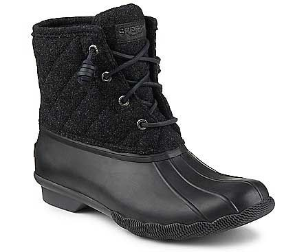 Sperry Top-Sider Saltwater Quilted Wool Duck Boots for Women in Black