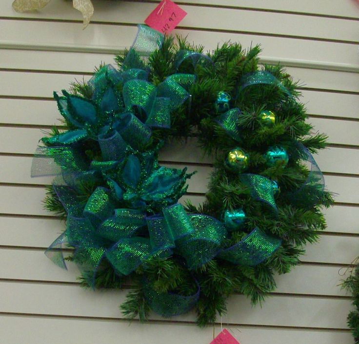 Winter Wreath With Deep Blue And Green Geo Mesh Assorted