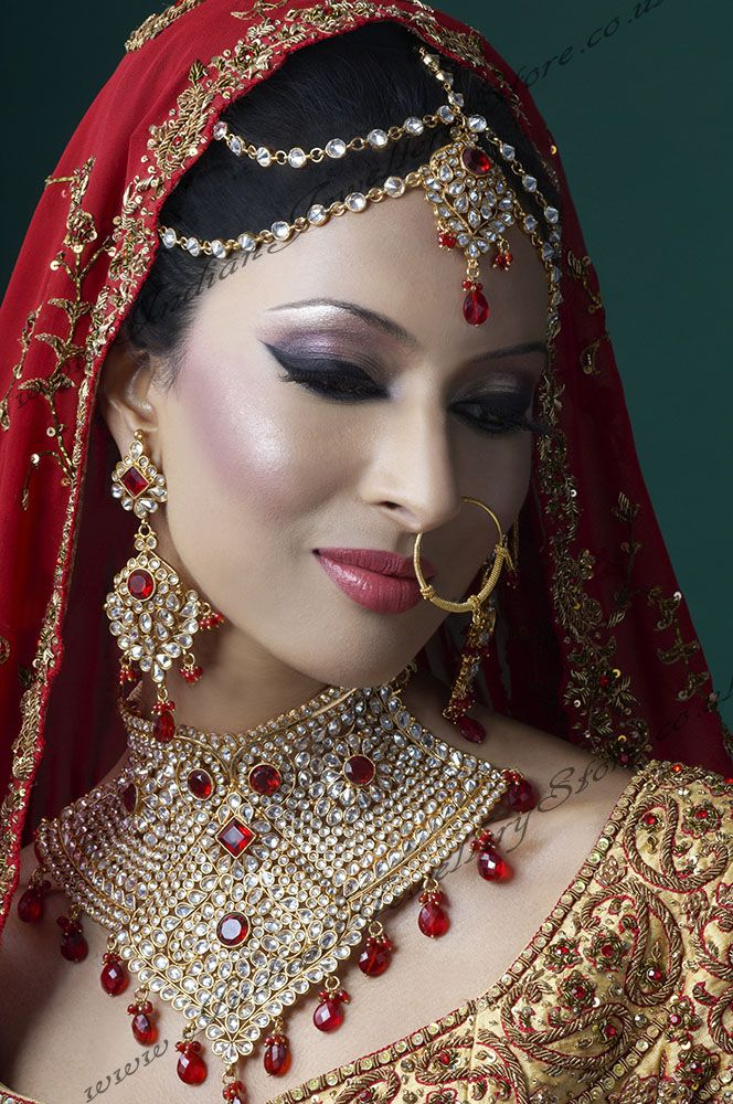 #makeup #hair #jewelry #Indian #wedding @Sarah Chintomby Therese Paisleys http://www.shopcost.in/bridal