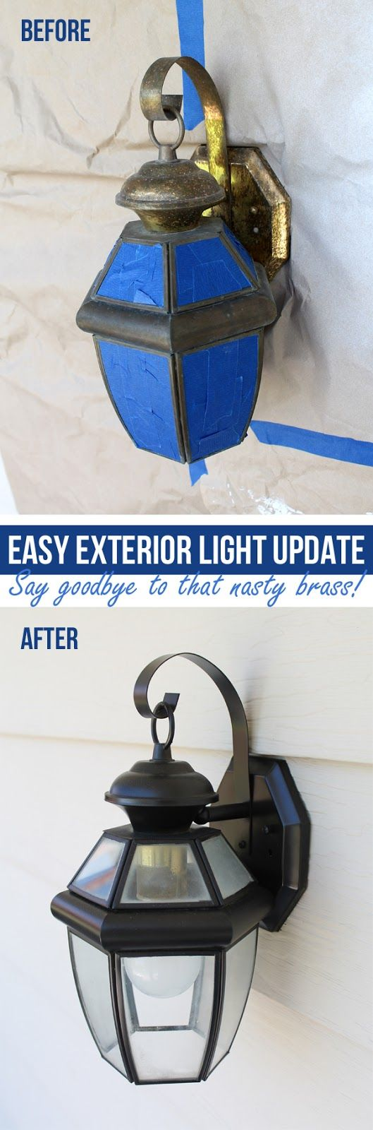 What a great before and after! For the cost of two cans of spray paint, I have four new exterior lights!