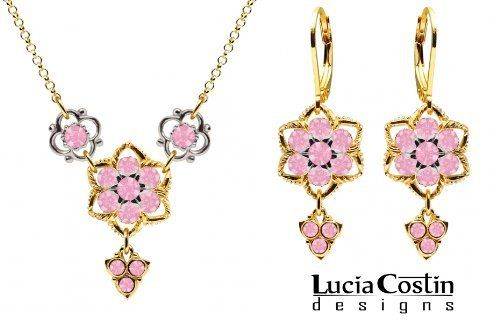 Lucia Costin Necklace and Earrings Set with 4 Petal Flowers and Fancy Charms, Designed with Twisted Lines and Light Pink Swarovski Crystals; 14K Yellow Gold over .925 Sterling Silver; Handmade in USA Lucia Costin. $128.00. Lucia Costin floral set of jewelry. Mesmerizing enough to wear on special occasions, but durable enough to be worn daily. Unique jewelry handmade in USA. Designed with light rose Swarovski crystals. Flowers and fancy ornaments beautifully combined