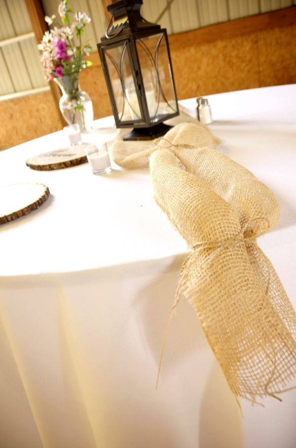 supposed to show burlap being used for a wedding table, but I think it's a great idea for any table