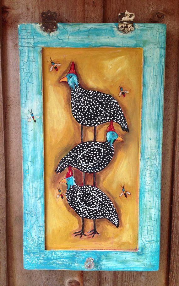 Modern Folk Painting Guinea Fowl Farm House Chic by evesjulia12, $180.00