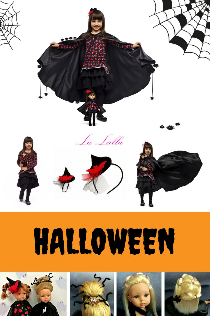 Halloween costume and halloween hairstyle for doll and for girl. Halloween cape and hat. Dress with cherries. Pomysł na przebranie halloween