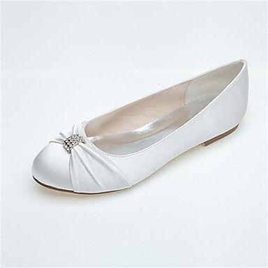 scarpe da donna punta rotonda tacco piatto appartamenti in raso con ruches scarpe da sposa più colori disponibili – EUR € 31.63