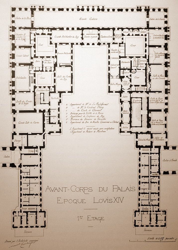 Lovely A Plan Of The Centre Of The Chateau De Versailles. First Floor.