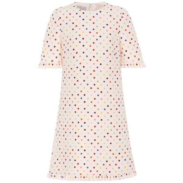 Valentino Polka-Dot Wool and Silk Minidress ($3,665) ❤ liked on Polyvore featuring dresses, multicoloured, polka dot dress, short cream dress, multi coloured dress, short pink dress and pink silk dress