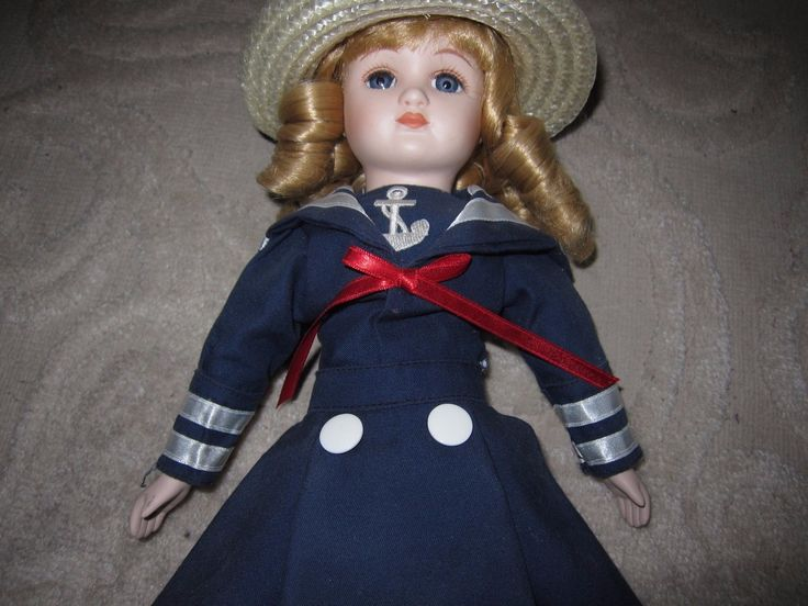 "Vintage sailor girl porcelain doll, navy dress anchor straw hat, 14"" with stand 