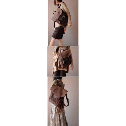 #01 Plecak 'VINTAGE 2' płótno-skóra naturalna A4 Szary
