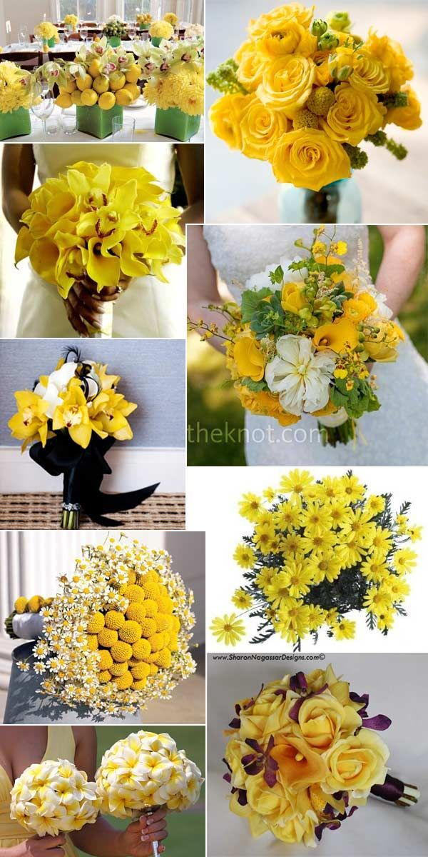 Yellow wedding flowers and bouquets. Visit http://www.realwedding.co.uk for more inspiration!