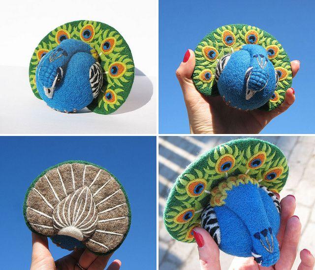 Peacock, needle felted wool art toy by woolroommate, via Flickr