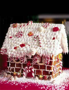 Recette Maison en pain d'épices :  Préparez la maison : coupez le pain d'épices en morceaux réguliers pour former des « briques ». Posez la structur...