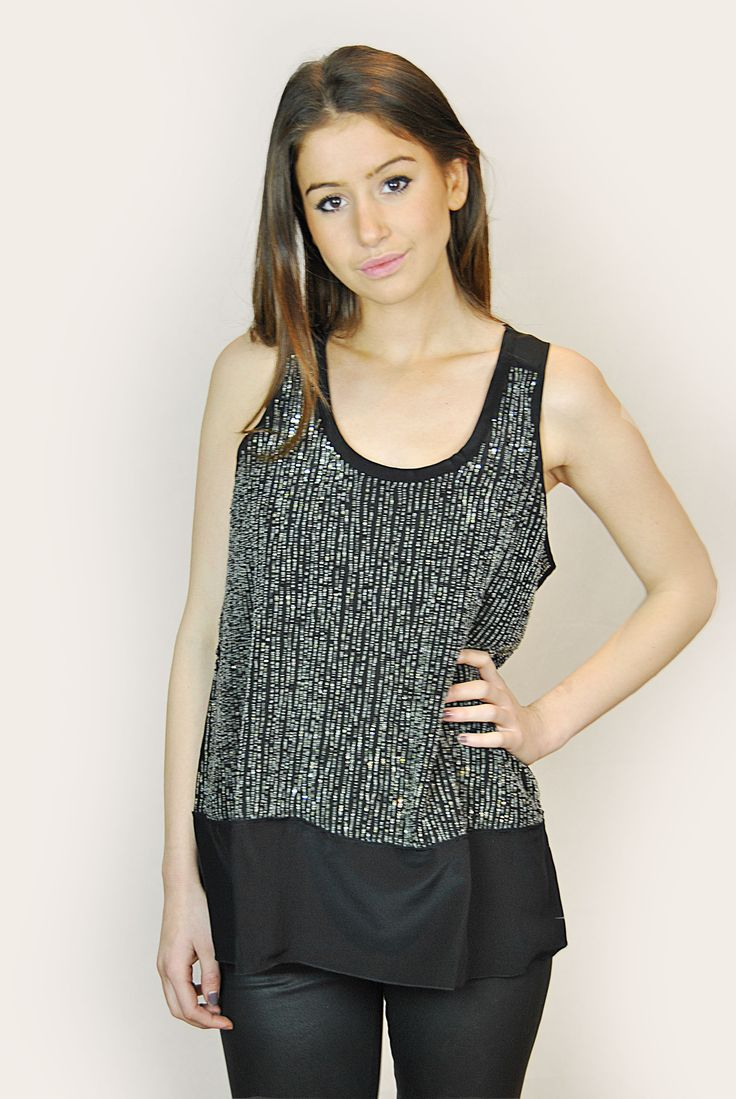 EILEEN FISHER SILVER SEQUIN AND BLACK SILK TANK