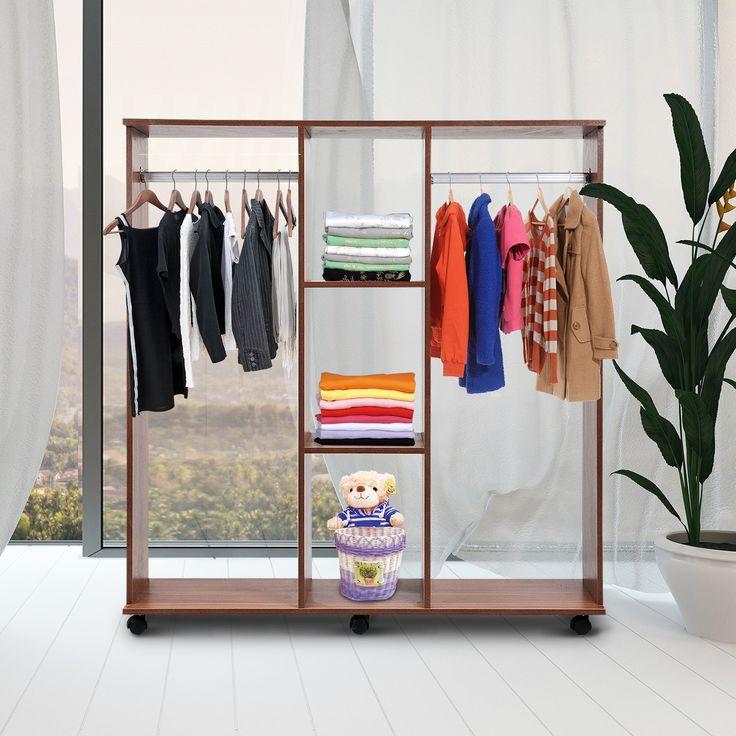 Stunning Der mobile offene Kleiderschrank Garderobenschrank fahrbar mit Rollen ist schnell und problemlos an einen beliebigen Ort versetzt g nstig bei Aosom