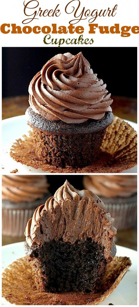 The BEST!!! Greek Yogurt Chocolate Fudge Cupcakes! Moist, fudgy, and so delicious!