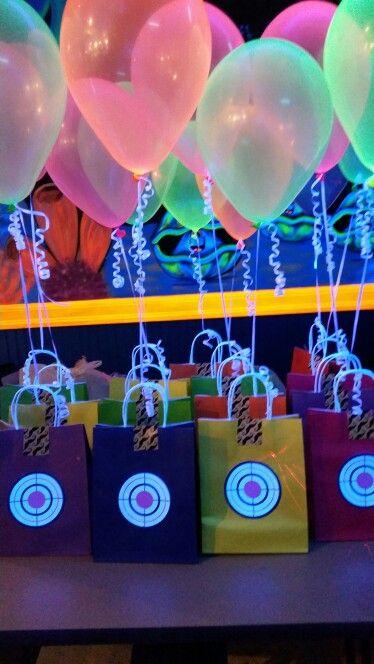 Black Light Laser Tag Party - the favor bags were a success!                                                                                                                                                                                 More